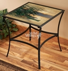 Summer Sunrise Camping Metal Accent Table with Glass Top
