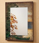 Summer Sunrise Loons Scenic Wall Mirror with Wood Frame