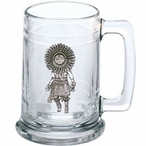 Sun Kachina Glass Beer Mug with Pewter Accent