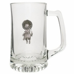 Sun Kachina Glass Super Beer Mug with Pewter Accent