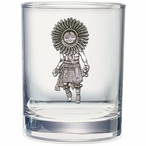 Sun Kachina Pewter Accent Double Old Fashion Glasses, Set of 2