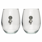 Sun Kachina Pewter Accent Stemless Wine Glass Goblets, Set of 2