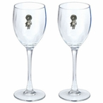 Sun Kachina Pewter Accent Wine Glass Goblets, Set of 2