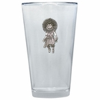 Sun Kachina Pint Beer Glasses with Pewter Accent, Set of 2