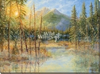 Sun Touched Scenic View Wrapped Canvas Giclee Art Print Wall Art