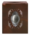 Sunburst Concho Metal Boutique Tissue Box Cover