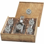 Sunface Capitol Decanter & DOF Glasses Box Set with Pewter Accents