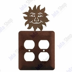 Sunface Double Metal Outlet Cover