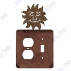 Sunface Double Metal Outlet Cover with Single Toggle