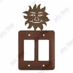 Sunface Double Rocker Metal Switch Plate Cover