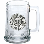 Sunface Glass Beer Mug with Pewter Accent