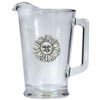 Sunface Glass Pitcher with Pewter Accent