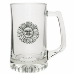 Sunface Glass Super Beer Mug with Pewter Accent