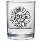 Sunface Pewter Accent Double Old Fashion Glasses, Set of 2
