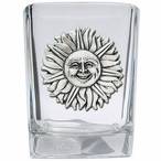 Sunface Pewter Accent Shot Glasses, Set of 4