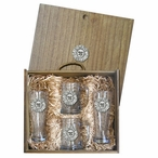 Sunface Pilsner Glasses & Beer Mugs Box Set with Pewter Accents