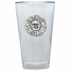 Sunface Pint Beer Glasses with Pewter Accent, Set of 2