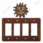 Sunface Quad Rocker Metal Switch Plate Cover