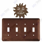 Sunface Quad Toggle Metal Switch Plate Cover