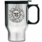 Sunface Stainless Steel Travel Mug with Handle and Pewter Accent