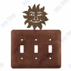 Sunface Triple Toggle Metal Switch Plate Cover