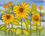 Sunflower Field Wrapped Canvas Giclee Print Wall Art