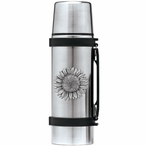 Sunflower Stainless Steel Thermos with Pewter Accent