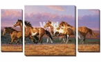 Sunset Cruise Wild Horses Wrapped Canvas Giclee Wall Art, Set of 3