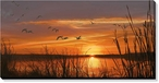 Sunset Silhouette Flying Mallards Wrapped Canvas Giclee Print