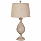 Sutton Resin Table Lamp Oatmeal Linen Shade