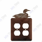 Swimming Loon Double Metal Outlet Cover