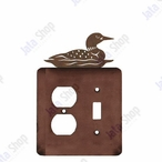 Swimming Loon Double Metal Outlet Cover with Single Toggle