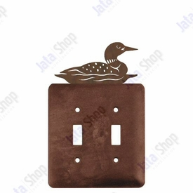 Swimming Loon Double Toggle Metal Switch Plate Cover
