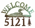Swimming Loon Metal Address Welcome Sign