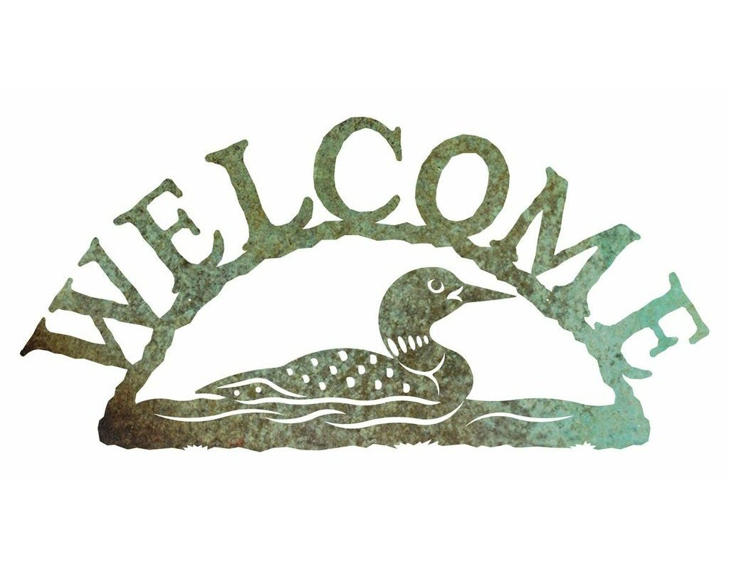 Swimming Loon Metal Welcome Sign Rustic Outdoor Wall Decor