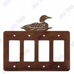 Swimming Loon Quad Rocker Metal Switch Plate Cover