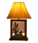 Swimming Loon Scenic Metal Table Lamp with Night Light