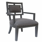 Sydney Geometric Pattern Grey Accent Wood Chair
