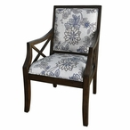 Sylvia Floral Linen Pattern Accent Wood Chair w/ Heritage Birch Finish