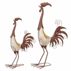 Tall Metal & Ceramic Rooster Garden Sculptures, Set of 2