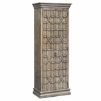 Tall Sedgwick Overlaid Fretwork Wood Cabinet