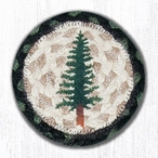 Tall Timber Trees Braided Jute Coasters by Jan Harless, Set of 8