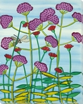 Tall Verbena Flowers Wrapped Canvas Giclee Print Wall Art