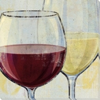 Tasting Red and White Wine Wrapped Canvas Giclee Print Wall Art