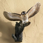 Tawny Owl Birds Sculpted Hand Painted Single Wall Hooks, Set of 2