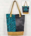 Teal and Mustard Fabric and Canvas Grocery Market Tote Bag