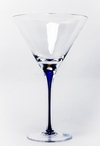 Tears and Cheers Crystal Martini Glasses with Blue Stem, Set of 4