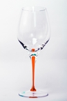 Tears and Cheers Crystal White Wine Glasses with Orange Stem, Set of 4