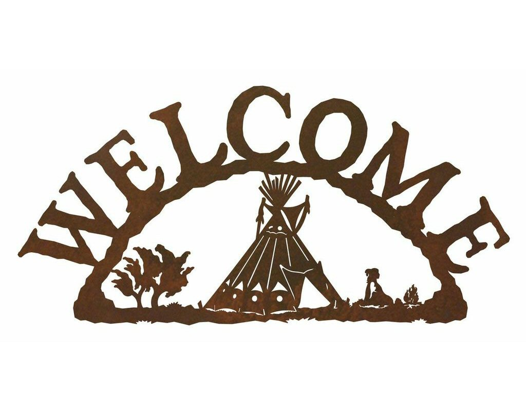 Teepee metal welcome sign rustic outdoor wall decor for Outdoor decorative signs