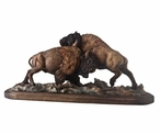 Test of Strength Bison Hand Painted Sculpture
